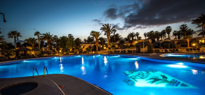 1) Las Brisas Pool at Dusk with LED lighting